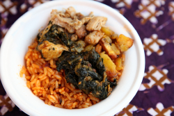 Chicken  plantain  and spinach over jollof rice (aka Nigerian bibimbap)  Obe  Queens International Night Market  Corona  Queens
