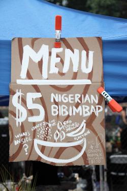 Nigerian bibimbap  hand-drawn sign  Obe  Queens International Night Market  Corona  Queens