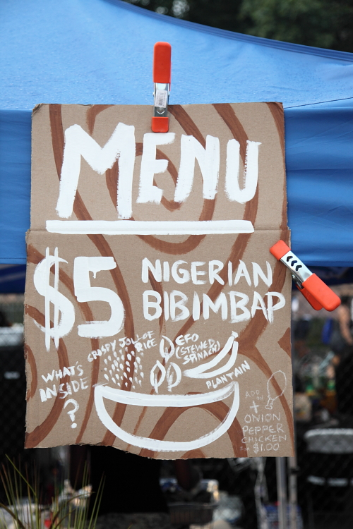 Nigerian bibimbap  hand-drawn sign  Obe  Queens International Night Market  Corona  Queens