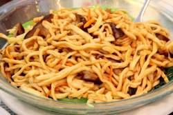 E-foo noodles with mushrooms at Great NY Noodletown  Bowery  New York