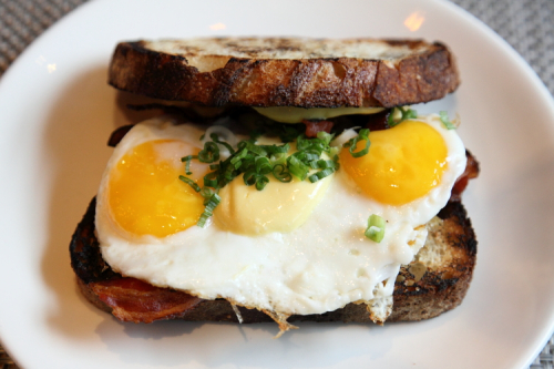 Duck egg sandwich  The Fat Monk  Columbus Ave  Manhattan