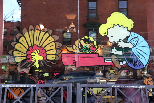 Woodstock as turkey and Schroeder with cornucopia  hand-painted Thanksgiving artwork  The Bean  First Ave  Manhattan