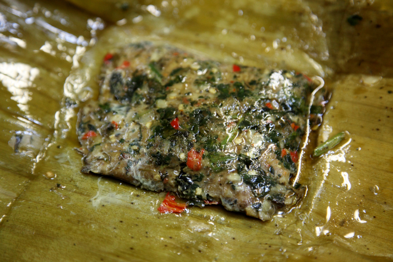 Steamed fish in banana leaf  Kachin Traditional Food Fair  Elmhurst Baptist Church  Elmhurst  Queens