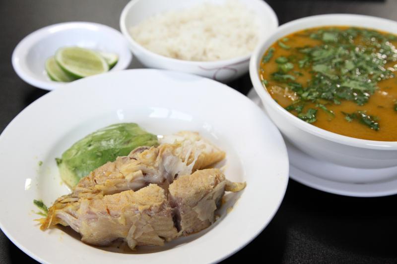 Caldo de bagre (catfish soup) and accompaniments  Antojitos Ecuatorianos 2  Astoria  Queens