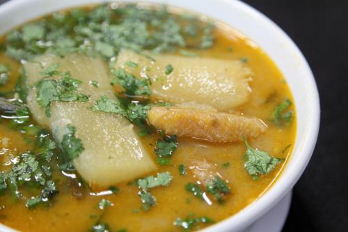 Cassava and plantain in caldo de bagre (catfish soup)  Antojitos Ecuatorianos 2  Astoria  Queens