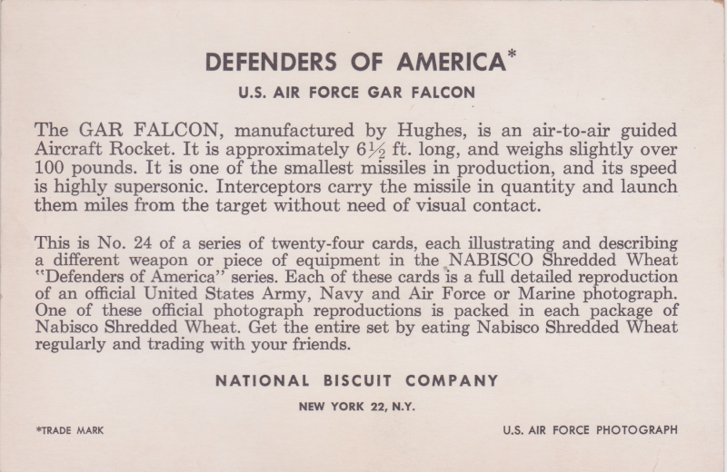 Defenders of America  US Air Force GAR Falcon trading card (back; National Biscuit Company  c 1959)