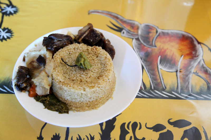 Djollof rice blanc  with lamb and vegetables (lunch special portion)  Paradis des Gouts  Bedford-Stuyvesant  Brooklyn