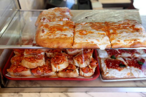 Vodka pizza squares  bruschetta  and marinara pizza squares  Philadelphia Grille  Bay Ridge  Brooklyn