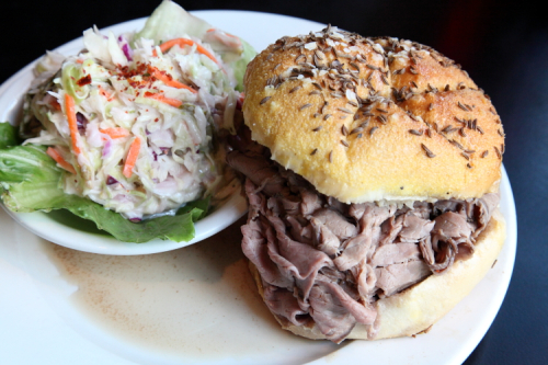 Beef on weck and spicy cole slaw