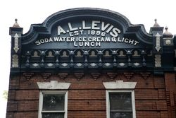 %22A L Levis, est 1896, soda water ice cream & light lunch,%22 surviving signage, Philadelphia