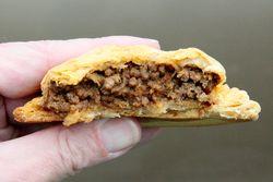Saint Kitts style beef patty (biteaway view), Sugar City Bakery, Williamsbridge, Bronx