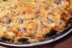 Sausage pie, Modern Apizza, New Haven, Connecticut