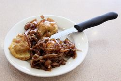 Fried brisket kreplach with sauteed onions, Mill Basin Kosher Deli, Mill Basin, Brooklyn
