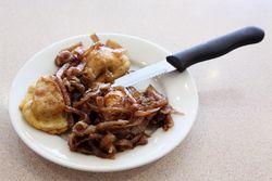 Fried brisket kreplach with sauteed onions, Mill Basin Kosher Deli, Mill Basin, Brooklyn