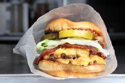 Bacon double cheeseburger, Hard Times Sundaes, Mill Basin, Brooklyn