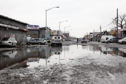 Swamped roadway, Willets Point, Queens