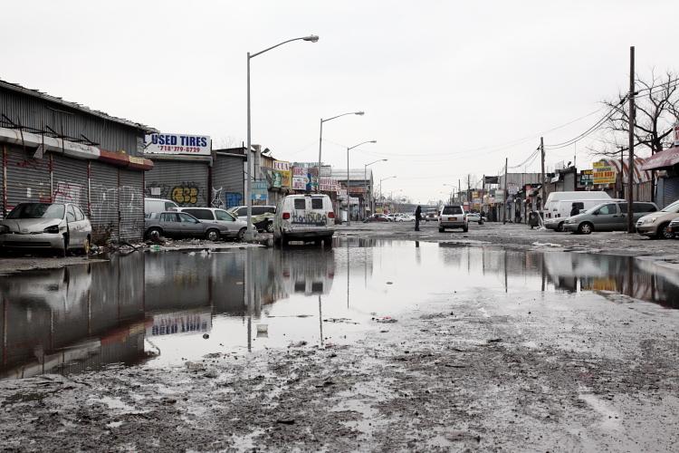 Swamped roadway, Willets Point, Queens