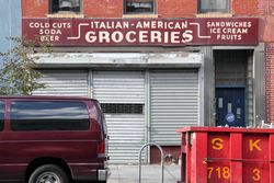 The former Linzalato Canio grocery, surviving signage, Williamsburg, Brooklyn