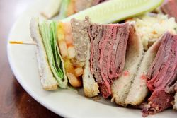 Roast beef and chopped liver club sandwich, Cafe Edison, West 47th Street, Manhattan