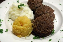 Haggis, neeps, and tatties, Argyle Restaurant, Kearny, New Jersey