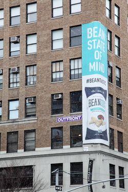 Beanitos banner wrapped around a building corner, Lafayette Street, Manhattan
