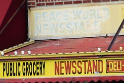 %22Public grocery%22 (detail of signage), Gravesend, Brooklyn