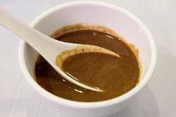 Peanut sauce accompanying haggis soup, Yi Lan Halal Restaurant, Flushing, Queens
