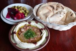 Qudsia and accompaniments, Ya Hala Restaurant, Yonkers, New York