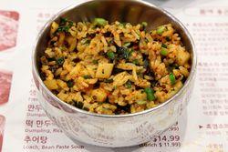 Black goat fried rice, Bangane, Murray Hill, Queens