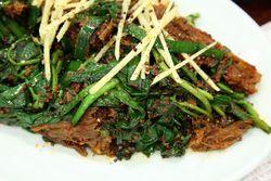Black goat moo chim, seasoned black goat meat, Bangane, Murray Hill, Queens
