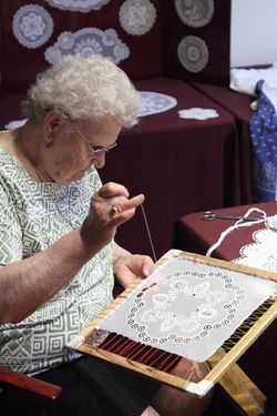 Lace-making demonstration by Mrs Istvan Szigethy, Hungarian Heritage Festival, Magyar Haz, East 82nd Street, Manhattan