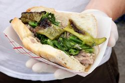 Roast pork sandwich, Federoff's roast pork, Smorgasburg, Brooklyn Heights, Brooklyn