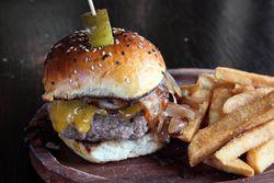 454 cheddar burger, Charlies Bar & Kitchen, Mott Haven, Bronx