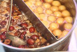 Split pot for cooking sweet rice ball peanut soup, Deluxe Food Market, Mott Street, Manhattan