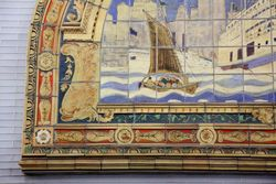 Marine Grill mural of the sidewheeler Commonwealth (detail of cargo boat; Frederick Dana Marsh, c 1913), Fulton St MTA passageway, Manhattan