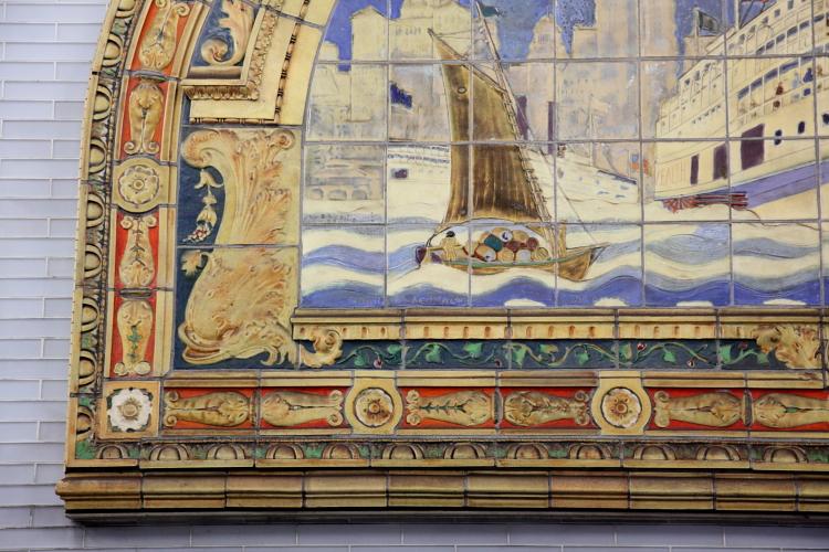 Marine Grill mural of the sidewheeler Commonwealth (detail of cargo boat; Frederick Dana Marsh, c 1913), Fulton St MTA passageway, Manhattan