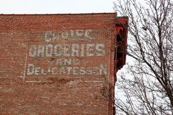Choice groceries and delicatessen, surviving (and probably partial) signage, Foxhurst, Bronx