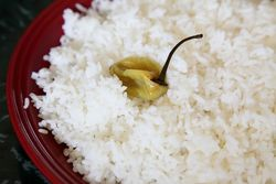 Rice with pepper, Bravo African Restaurant, Soundview, Bronx