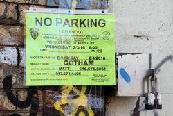 No parking, film shoot notice, Gotham, Mott Haven, Bronx