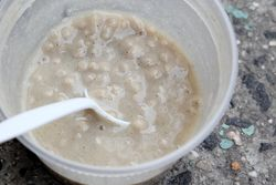 Millet porridge with ginger, vendor outside the Timbuktu Islamic Center, West 144th St, Manhattan