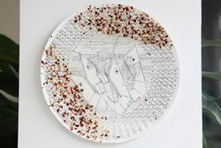 Casseroled shrimp with glass noodles and pizza seasoning, typewriter art on paper plate mounted on wood panel (Nutthawut Siridejchai, 2015), Sugar Club, Elmhurst, Queens