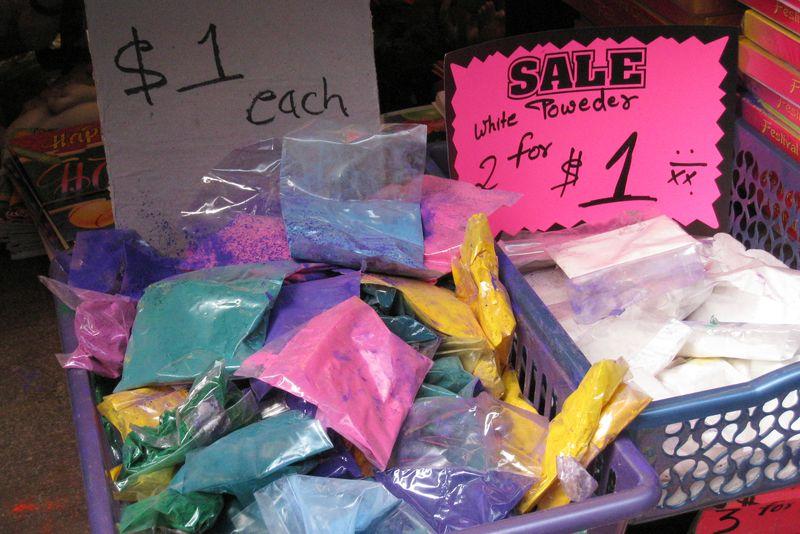 Phagwah powders, Richmond Hill, Queens