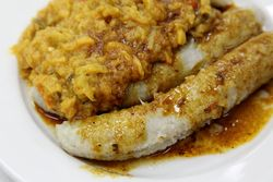 Guineos with stewed eggplant, La Terraza Restaurant, Broadway, Manhattan