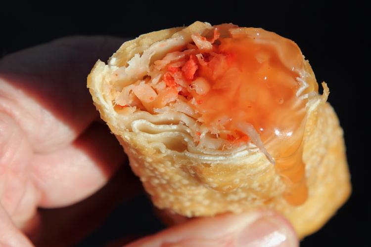 Roast pork egg roll (biteaway view), Egg Roll Chinese Restaurant, Bedford-Stuyvesant, Brooklyn