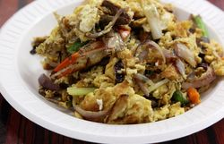 Crab-and-egg stir-fry, Changle Cuisine, Flushing, Queens