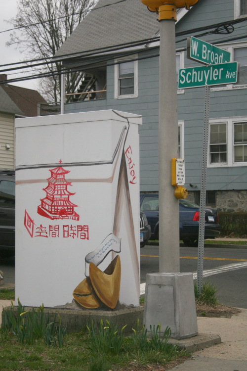 Traffic-signal box decorated as Chinese-takeout box, Stamford, Connecticut