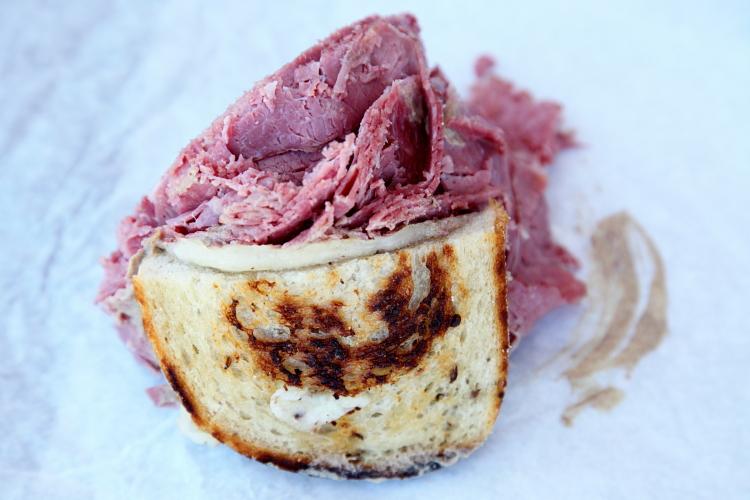 Corned-beef sandwich (half), Slyman's Restaurant, Cleveland