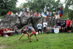 Wrestlers and spectators, Mongols Naadam Celebration, Central Park, Manhattan
