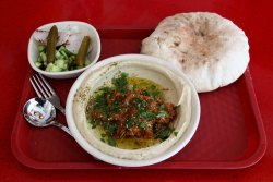 Hummus with eggplant, Dizengoff, Chelsea Market, Ninth Ave, Manhattan