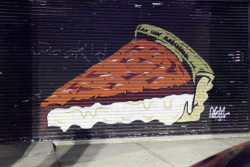 Deep-dish pizza, security-shutters mural, Chicago